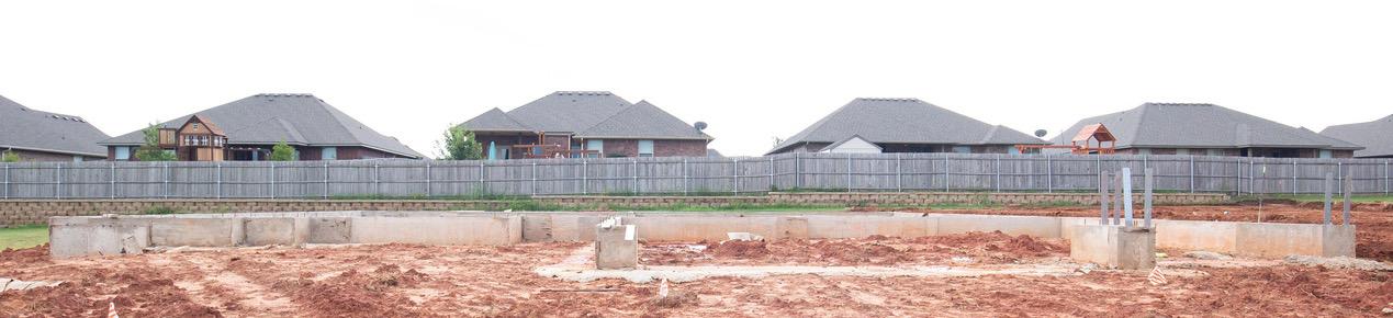 A foundation on a plot of land