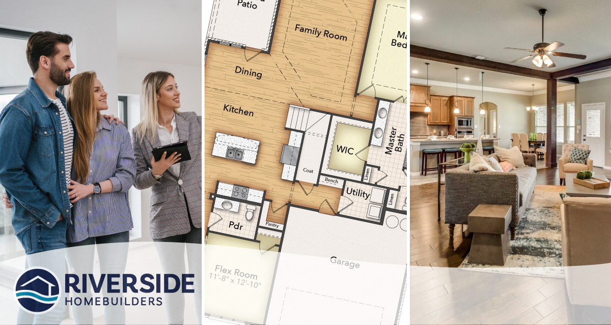3 image collage. Image on left is of couple with their realtor. Image in middle is of a floor plan rendering. Image on right is of a model home living room.