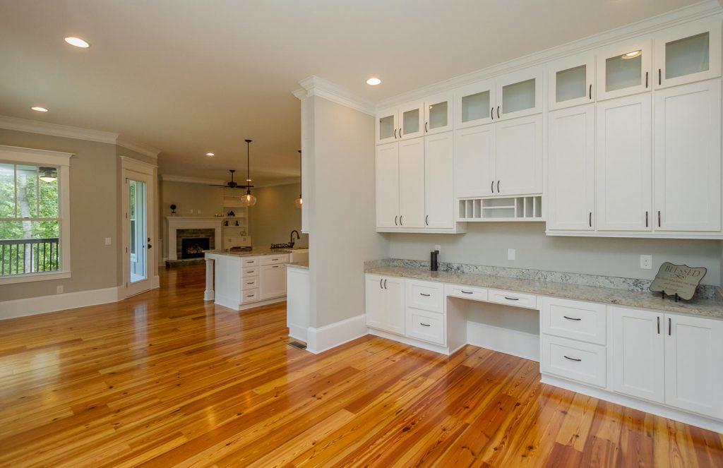 Open floors plans, kitchen with desk, floor plans for entertaining, open kitchen, large granite kitchen island