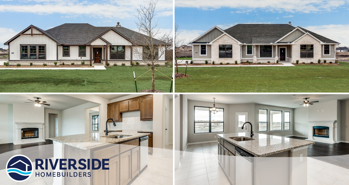 4 photo collage. Top two photos are of Riverside Homebuilder's farmhouse-style homes. Bottom two pictures feature photos of those homes' kitchens.
