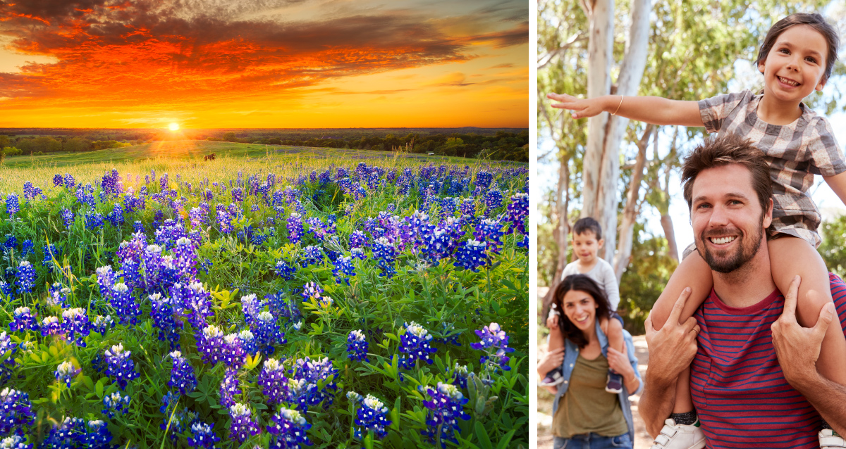 Two photo collage. Photo on left is of field of purple flowers. Photo on right is of family.