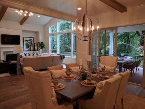 The Dining Area with Double Sliding Glass Door and Covered Outdoor Living Area