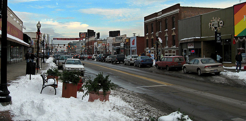 Downtown street in Ferndale mi covered in snow