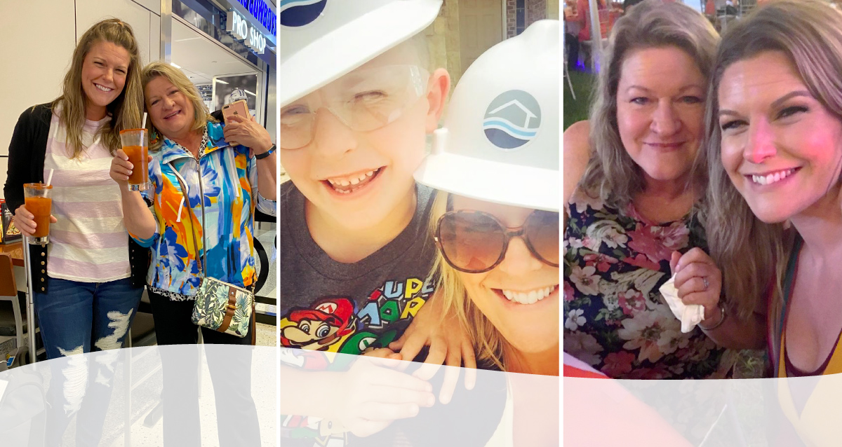 Three photo collage. Image on left is of Nicole (daughter) and Sherri (mother) holding drinks. Image in middle is of Nicole with her son Dallas in Riverside Homebuilders construction hats. Image on right is of Nicole and Sherri taking a selfie at a table.