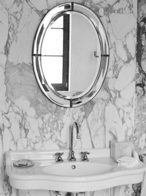Marble bathroom.