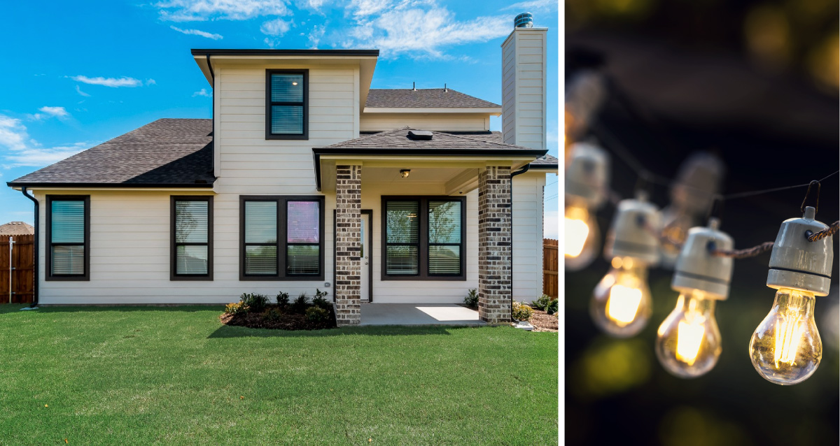 Two photo collage. Photo on left is back of Quail Run model home in Sherman. Photo on right is of outdoor lights.