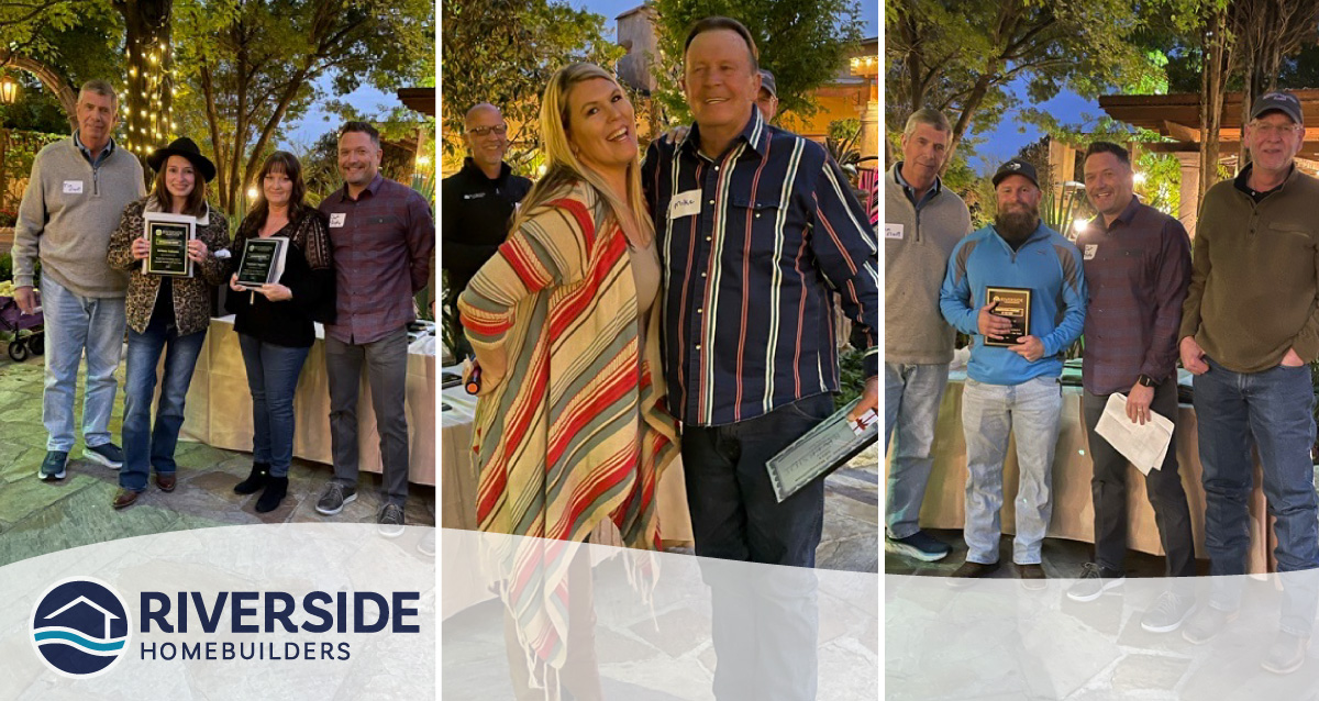 Three image collage. All three images are of Riverside Homebuilders employees celebrating their annual awards.