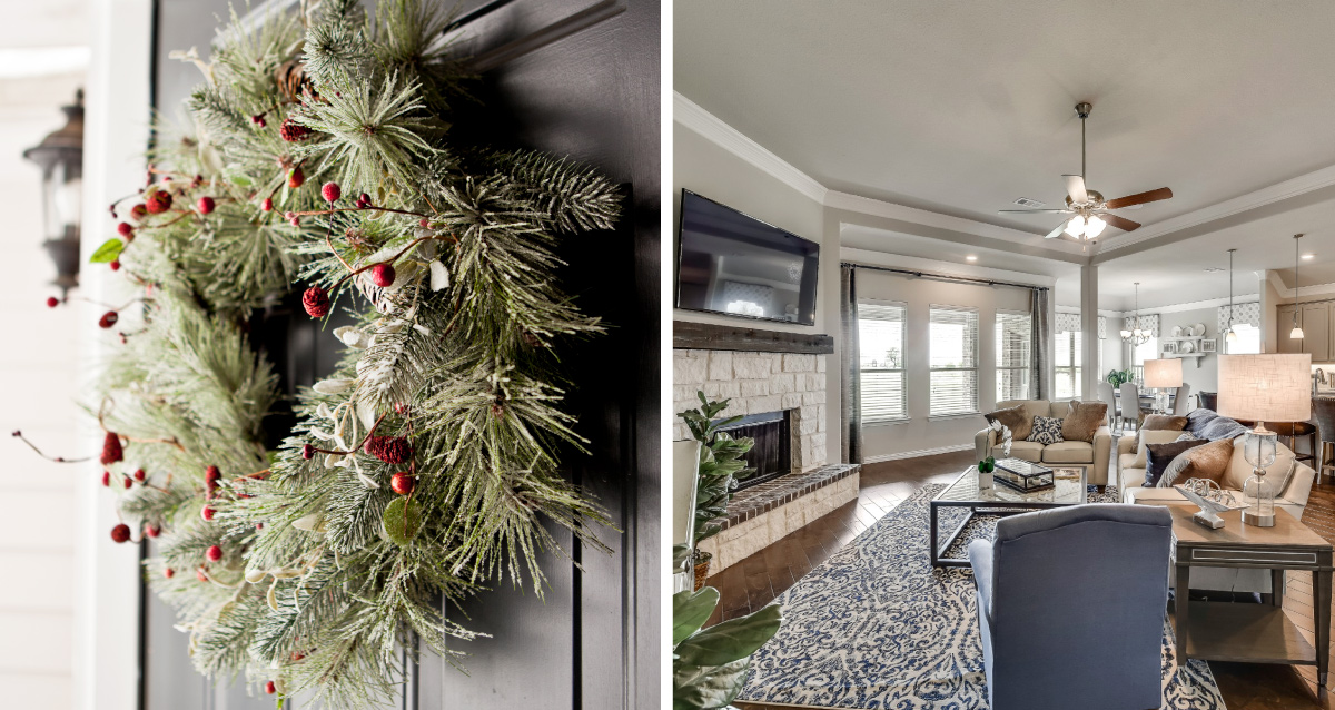 Two photo collage. Photo on the left is of holiday wreath. Photo on right is of Riverside Homebuilders living room.