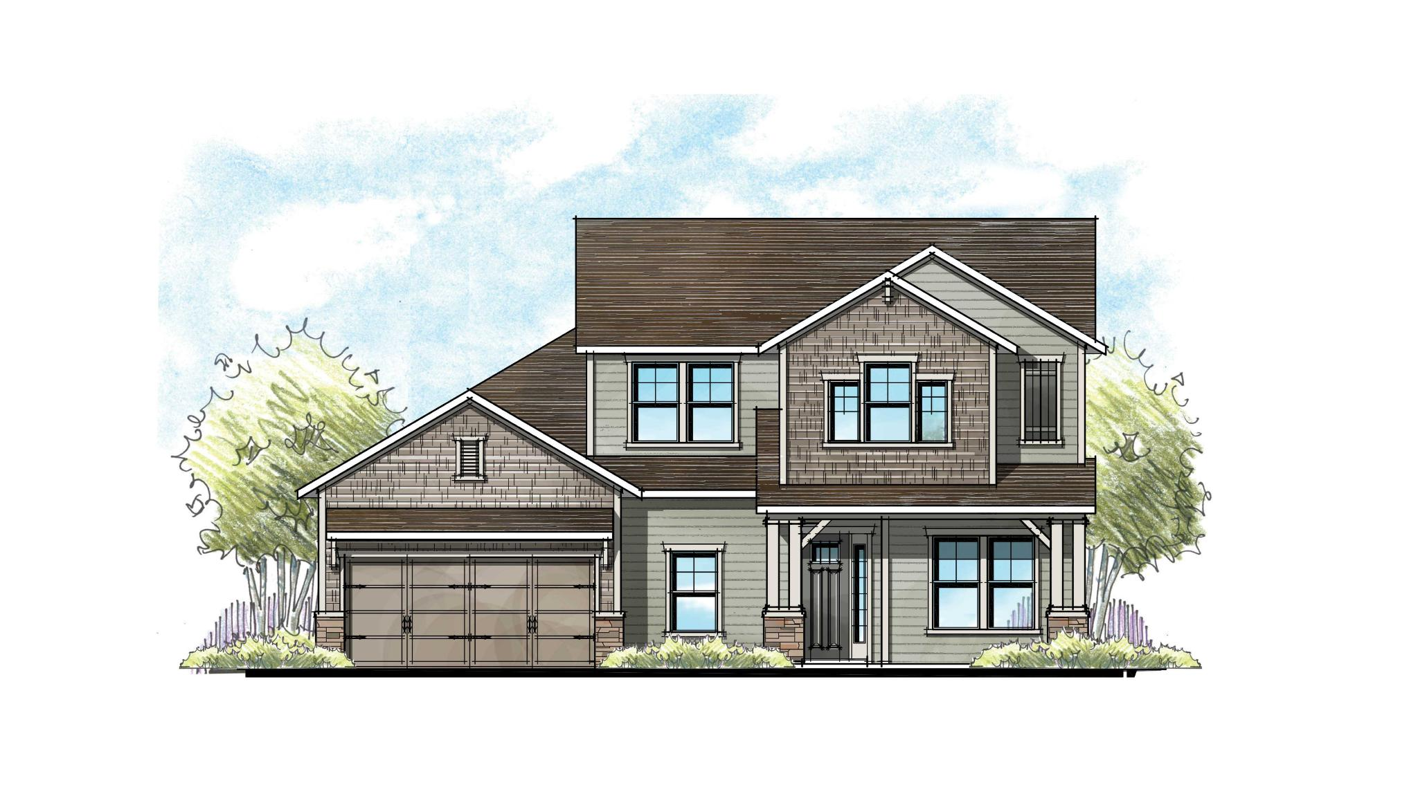 The Lafayette Urban Rustic Elevation 4 2-Car Garage