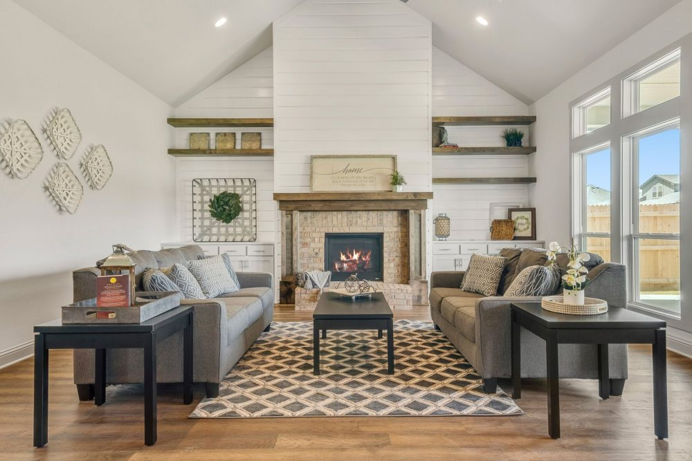 Living room high ceiling Fireplace Open shelving