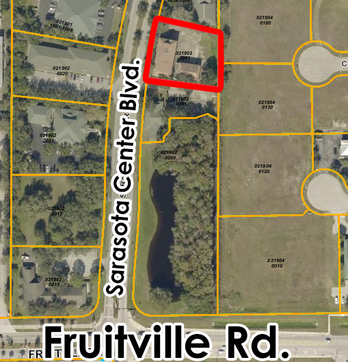 Aerial view with proximity to Fruitville Rd.