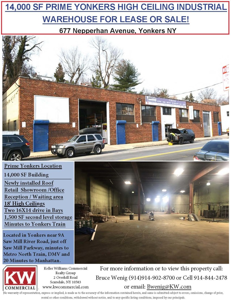 Yonkers Industrial Warehouse for Sale/Lease