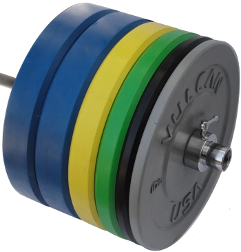 415 lb Color Bumper Plates and Bar Set