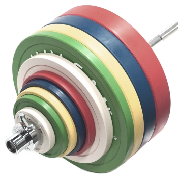 185 kg Competition Bumper Plates & Olympic Bar Set - Vulcan