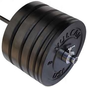 415 lb Bumper Plates and Olympic Bar Set