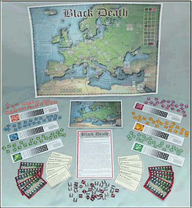 Black Death boardgame components
