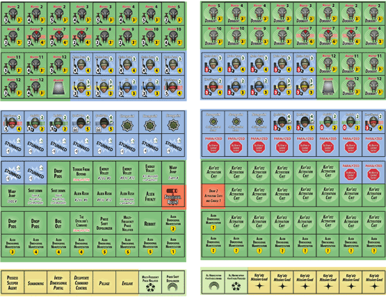 Invaders From Dimension X counter sheet