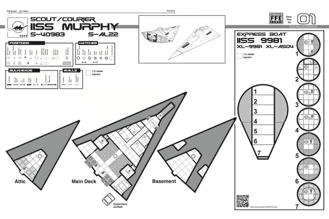 Traveller map of a Scout Courier starship