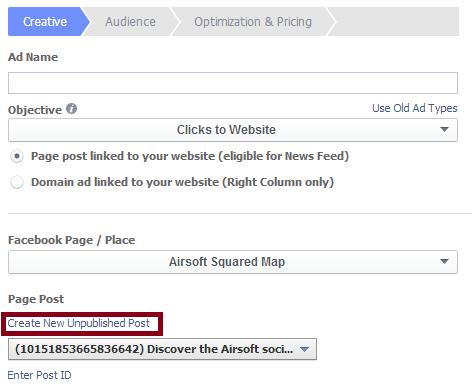 interface création de publicité facebook