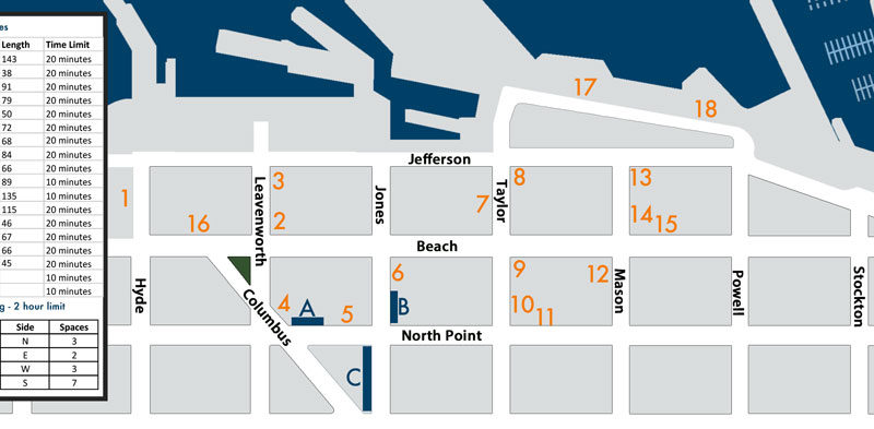Bus Rental Parking at Pier 39