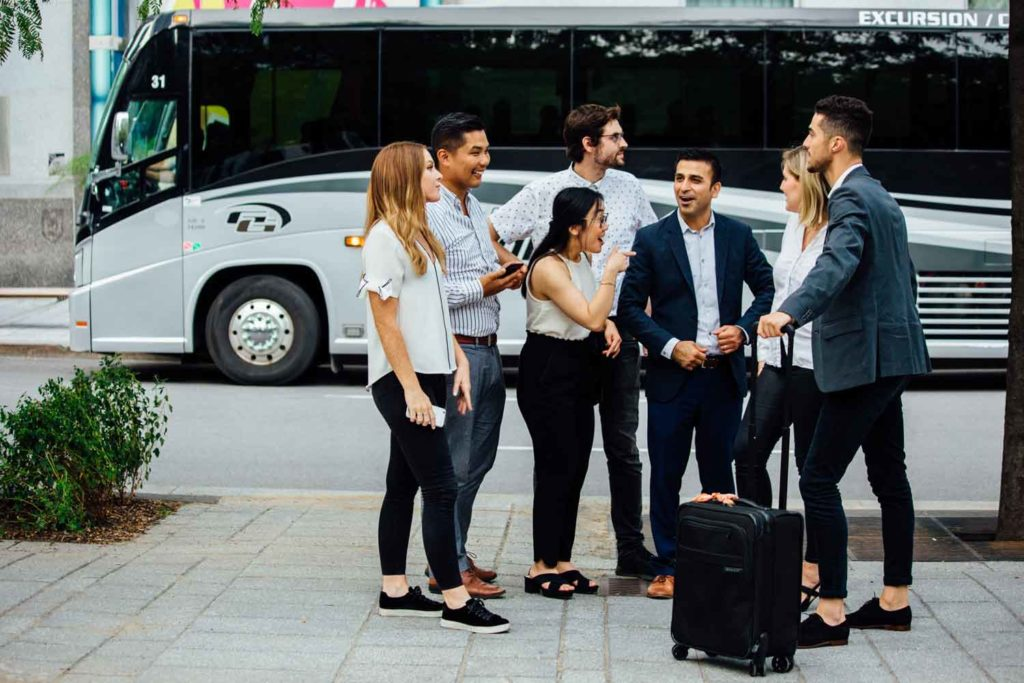 Rent a charter bus for your corporate event.