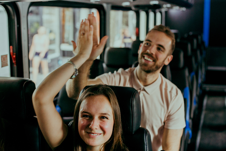 Rent a bus to get your group to the best team building offsite activities.