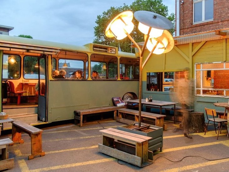Cafe Pförtner in Berlin is an excellent example of how to reuse an old bus.