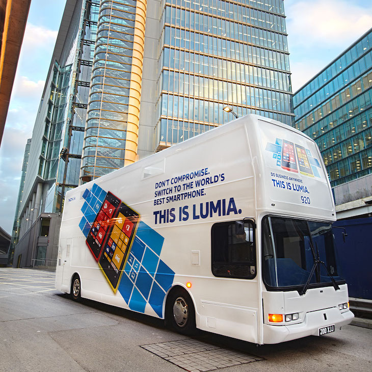 The Bus Business creatively repurposed buses for their Nokia campaign.