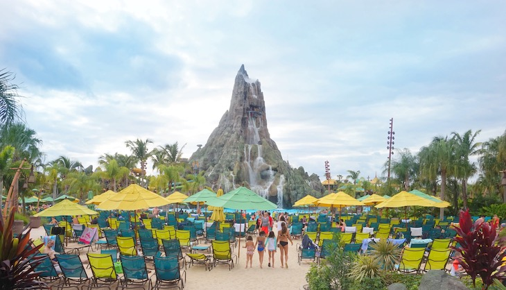 Rent a Miami charter bus to Universal Studios' Volcano Bay.
