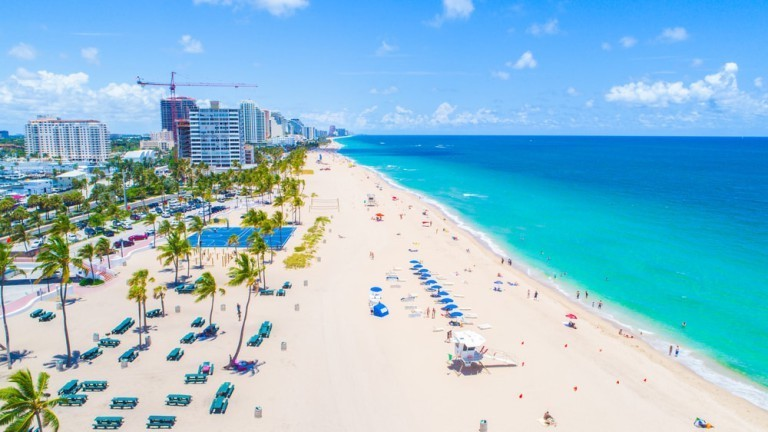 Miami charter bus rentals to Fort Lauderdale Beach.