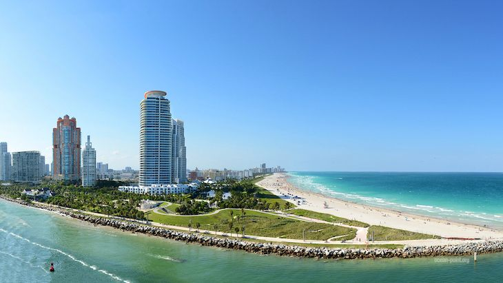 Miami charter bus rentals to South Pointe Park Beach.
