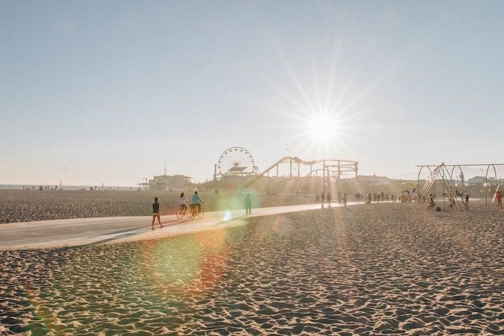 Los Angeles charter bus rentals to Santa Monica State Beach.