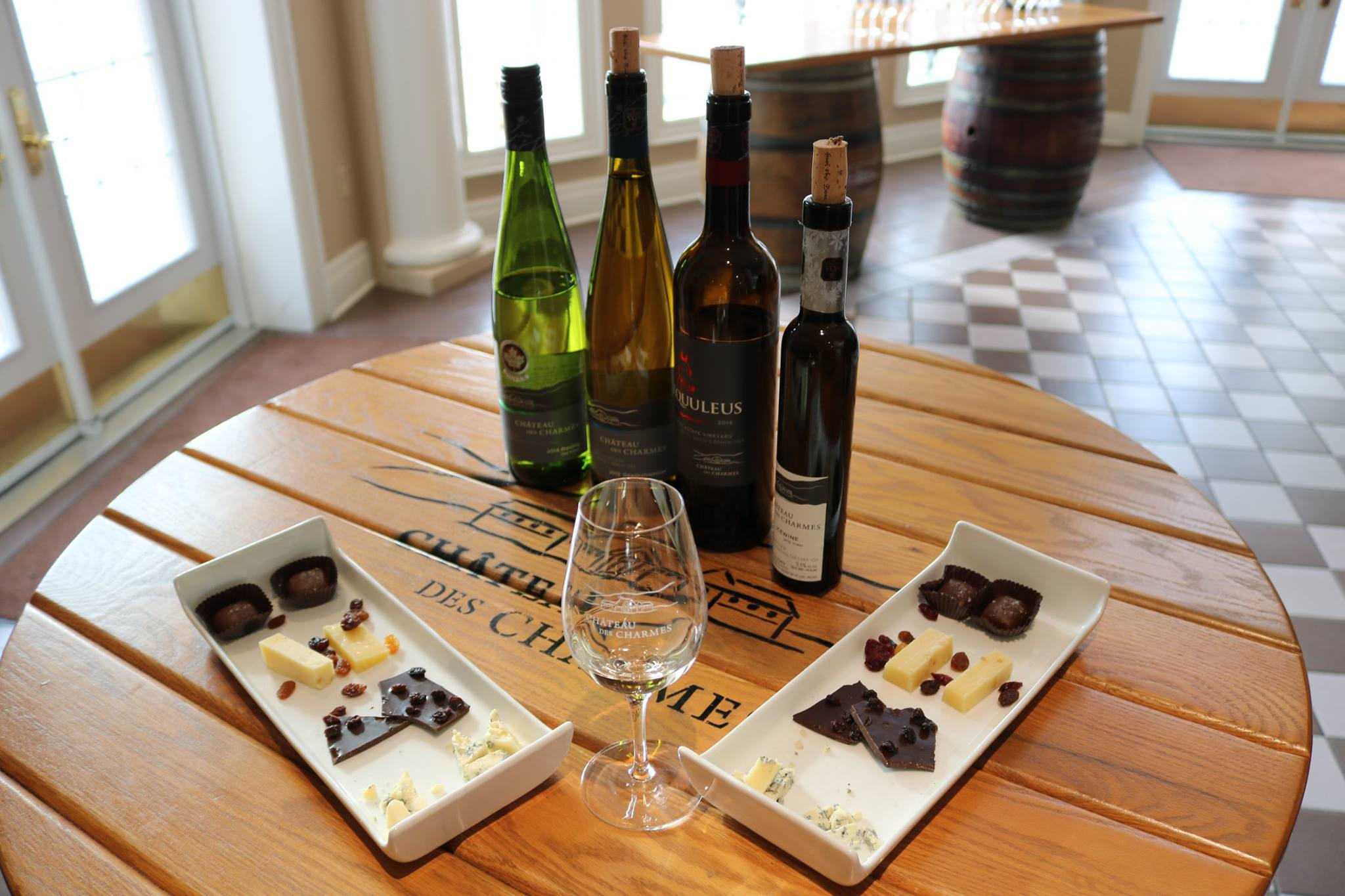 Rent a charter bus to get to Château des Charmes, and enjoy a sweet and salty smorgasboard, perfectly paired with their wine selection.
