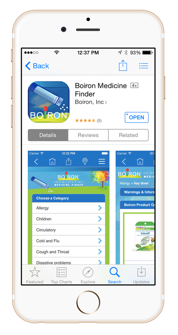 iPhone with App Store showing Boiron Medicine Finder