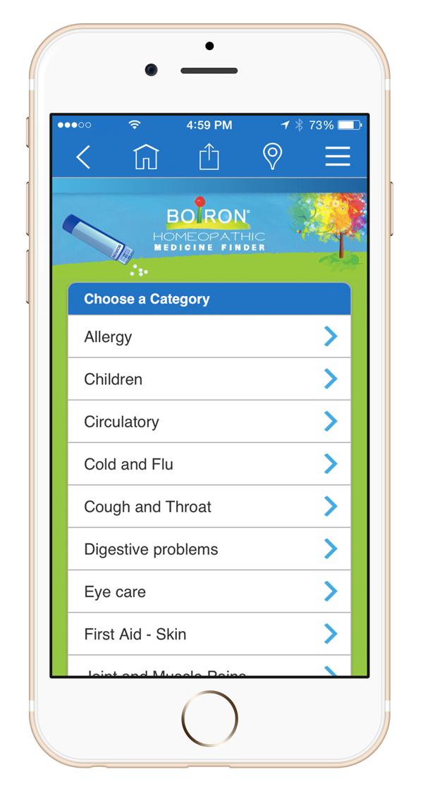 iPhone showing Boiron Medicine Finder main screen