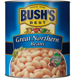 Bush's Best Great Northern Beans are vegetarian beans available in bulk for foodservice menus.