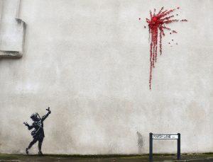 Vandalizan mural que Banksy realizó en Bristol por San Valentín.
