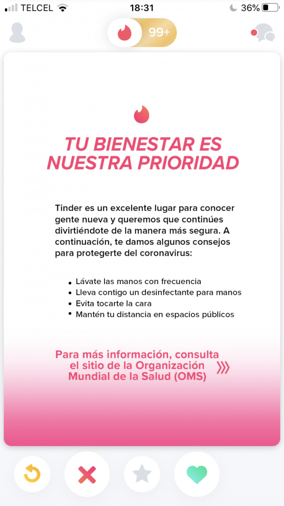 Tinder, apps de ligue y coronavirus