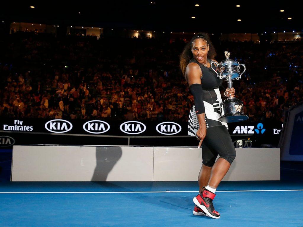 Serena williams usando tenis air jordan marca nike michael jordan