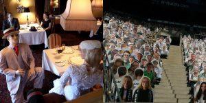 Fotos que muestran formas creativas en que las personas ocupan asientos vacíos bajo pautas de distanciamiento social