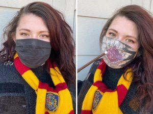 Una artista hizo mascarillas de 'Harry Potter' que revelan el Mapa del Merodeador mientras respiras
