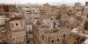 Las antiguas casas de Saná, Patrimonio de la Humanidad por la UNESCO, se derrumban por las fuertes lluvias en Yemen