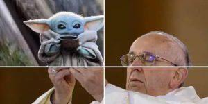 Los memes del Papa Francisco inundan Twitter —lo muestran sosteniendo, desde a Baby Yoda, hasta a Spider Man