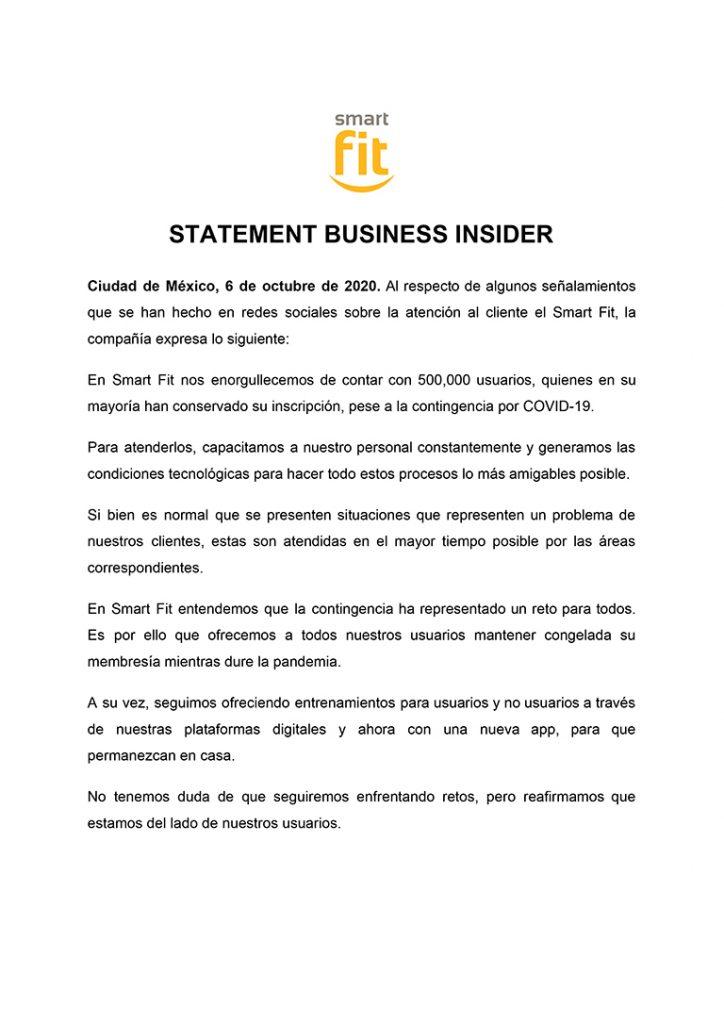 Statement Smart Fit gimnasios | Business Insider Mexico