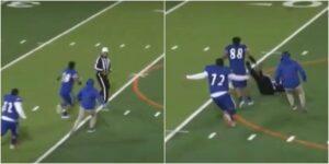 Jugador de futbol americano de una escuela en Texas atacó al árbitro después de ser expulsado por un golpe tardío ––fue escoltado fuera del estadio por la policía