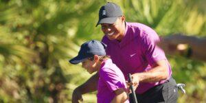 Tiger Woods y su hijo Charlie se robaron el show del Campeonato PNC de padres e hijos, aunque terminaron en séptimo lugar