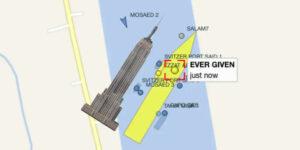 Desencallar el barco Ever Given del Canal de Suez sería tan difícil como mover el Empire State