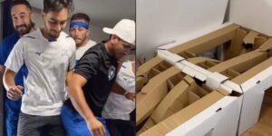 Se necesitan 9 atletas para romper una de las camas de cartón de la Villa Olímpica, muestra un video viral de TikTok