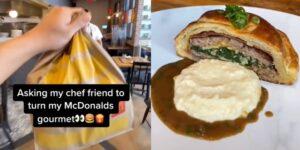 El hack de un chef se hizo viral en TikTok tras convertir una hamburguesa con papas de McDonald's en una cena gourmet