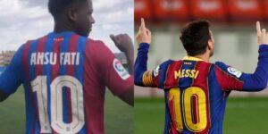 Ansu Fati de 18 años recibe la icónica camiseta del FC Barcelona número 10 de Lionel Messi